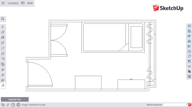 Plano del dormitorio en la herramienta web SketchUp
