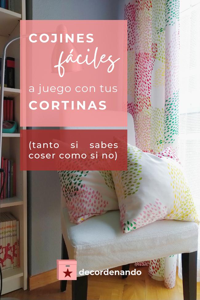 Imagen para Pinterest: cojines fáciles a juego con tus cortinas