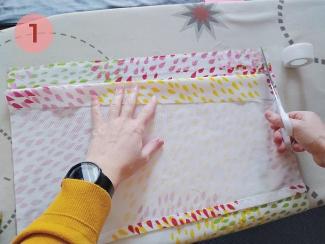 paso 1 para unir el cojín con cinta termoadhesiva