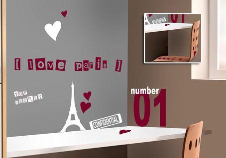 Stickers En Kit Pour Ambiance Chambre Fille Love Paris