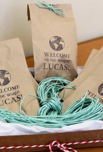 embalagens personalizadas para chá de bebê