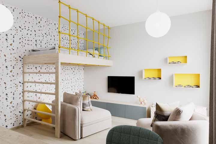 O amarelo vibrante é uma ótima cor para os detalhes do quarto infantil