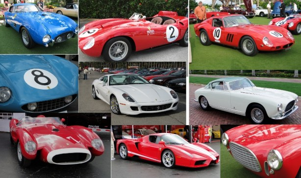 Classic and current Ferraris make a flag