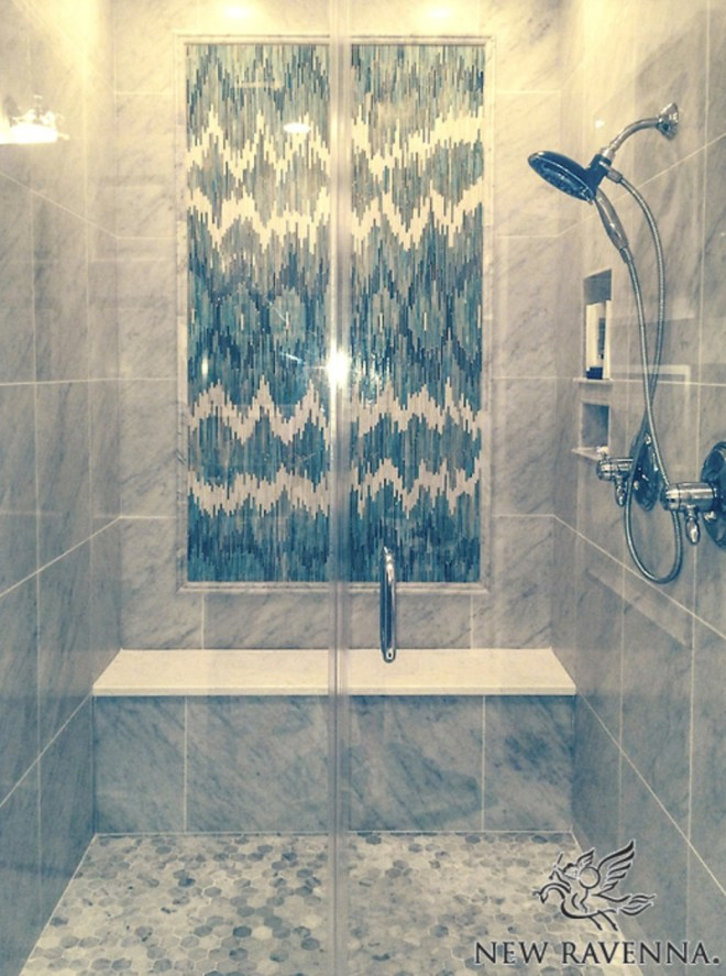 New Ravenna ikat patterned tile shower