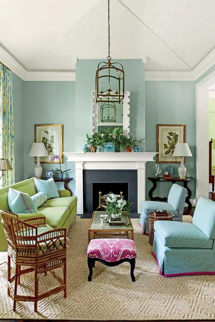 Màu xanh lam Thiết kế nội thất phòng khách màu xanh lá cây # màu sơn # màu xanh lá cây # màu sơn # màu sơn #decorhomeideas