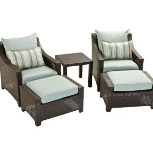 Steel 2 Piece Club Chair Ottoman Set