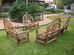 using rustic outdoor furniture