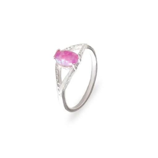 srebrni prsten s ružičastim opalom