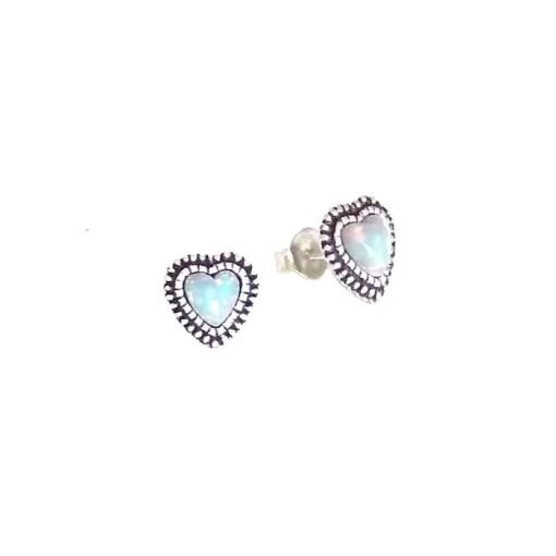 srebrne naušnice srca s opalom