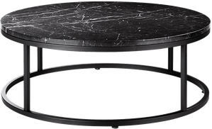 smart round black marble coffee table