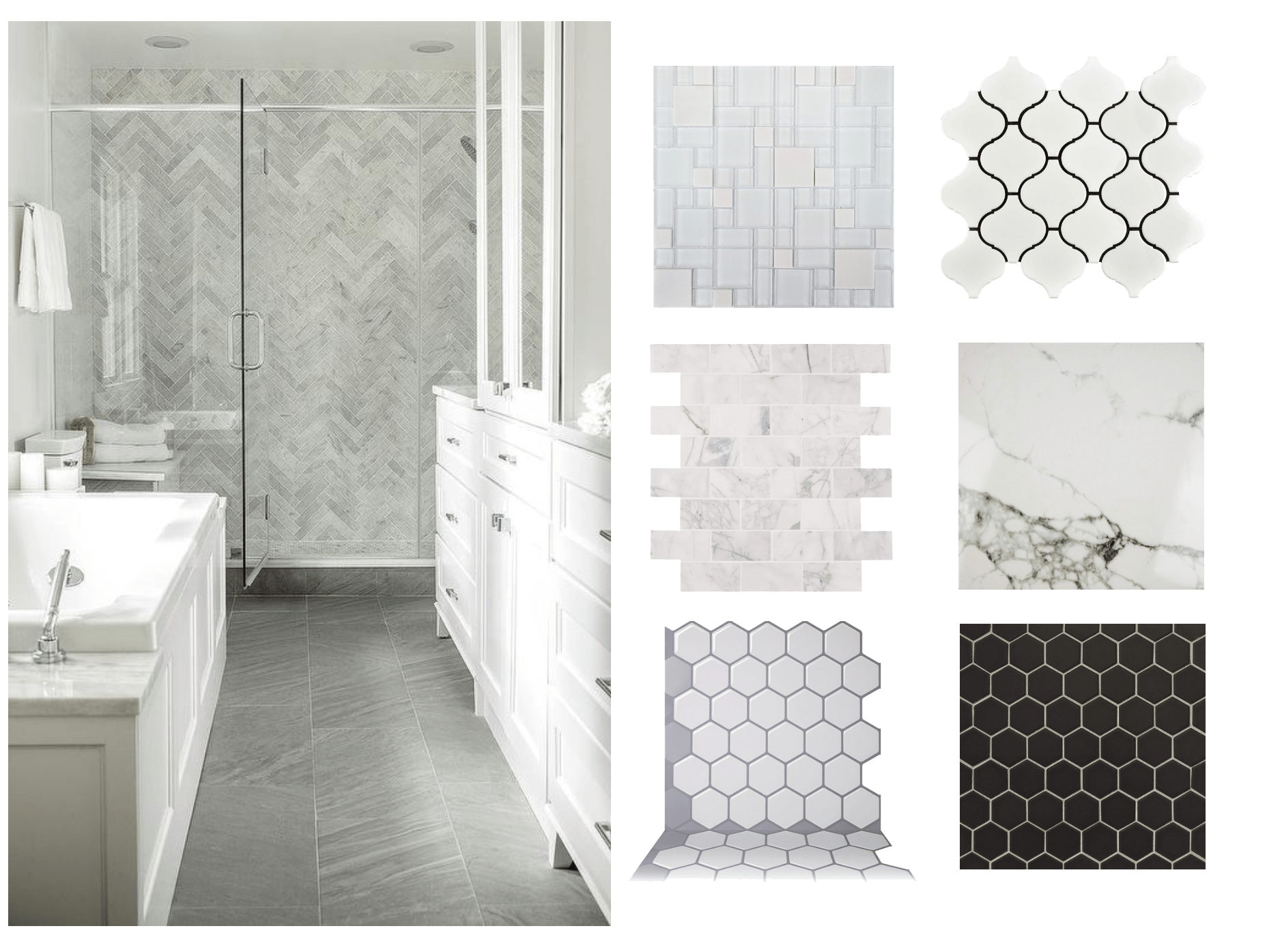 coordinating shower floor and wall tile