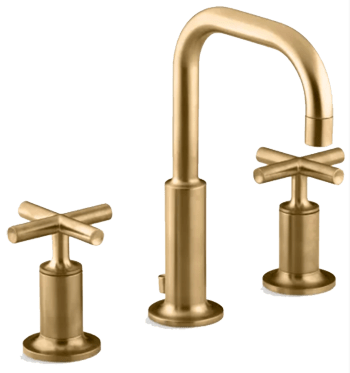 vibrant moderne brushed gold purist widespread bathroom faucet with ultra glide valve technology