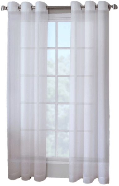 crushed voile 95 inch grommet top sheer window curtain panel in white