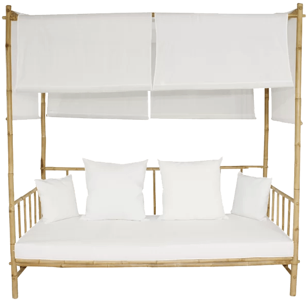 eoin bamboo patio daybed with cushions and canopy and mattress bamboo