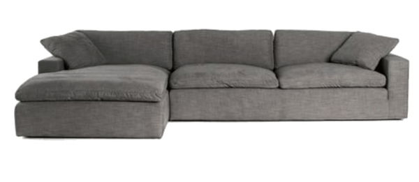 milo upholstered sofa with chaise sectional left arm sofa with chaise sectional performance heathered tweed graphite