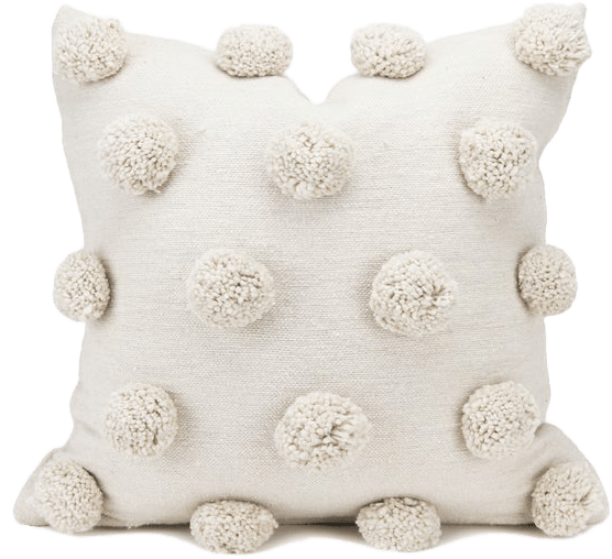 20 x 20 cream pillow cover with polka dot pom poms cotton handwoven handmade moroccan ivory