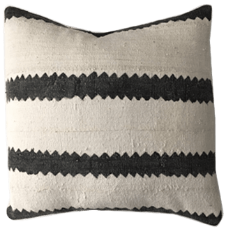 african mudcloth pillow cover ethnic handwoven black and cream striped
