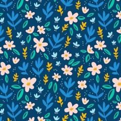 tapeta-drobne-kwiaty-niebieskie-dekoracje-na-sciane