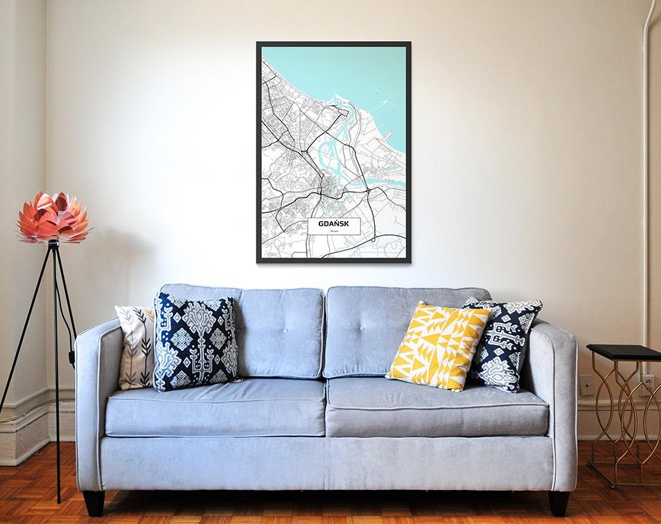 Dekoracje na ściany z mapami miast - aranżacja z obrazem z mapą miasta od Decor Mint