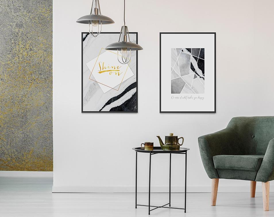 dekoracje z betonem i marmurem do małego mieszkania