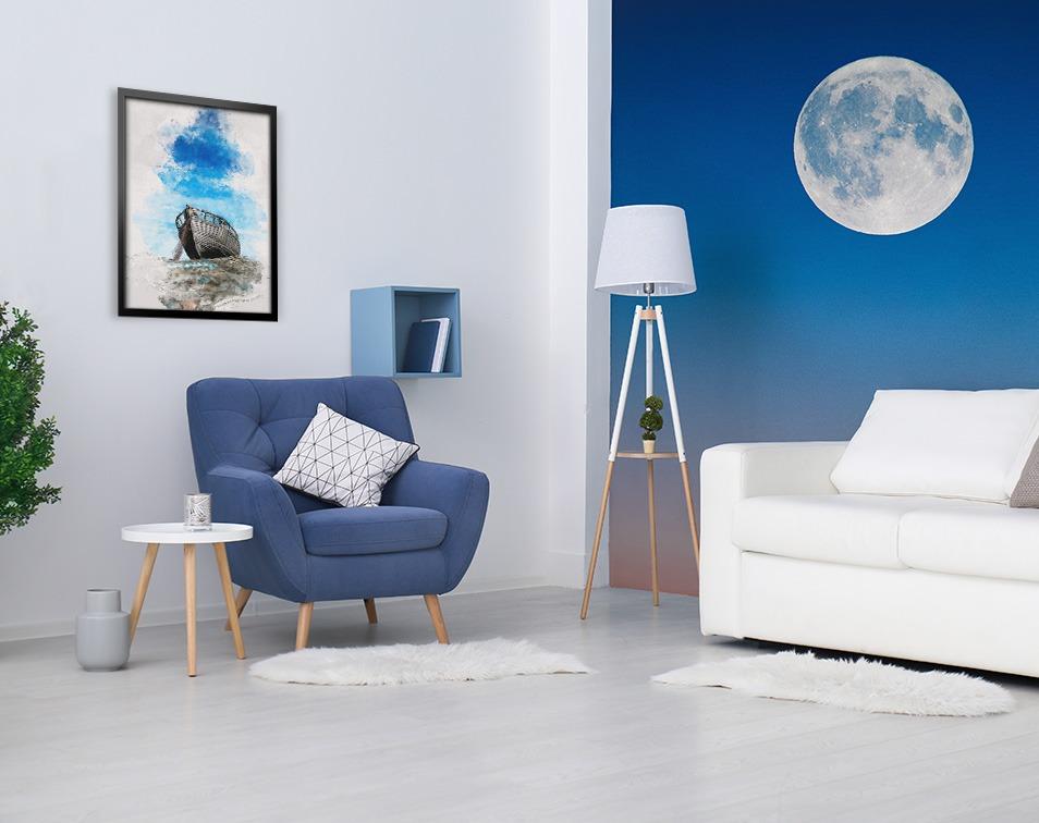 dekoracje w kolorze roku pantone 2020 Classic Blue do salonu