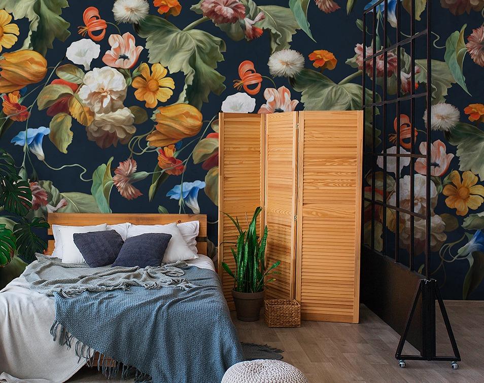 Tapeta w kwiaty w rozmiarze xxl do sypialni
