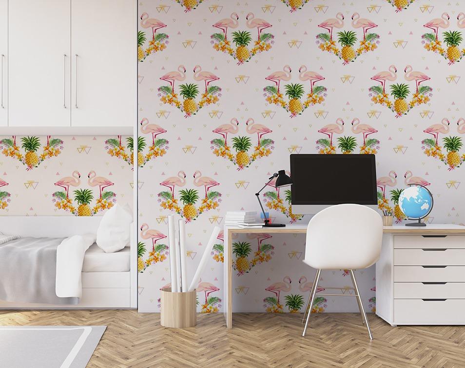 Fototapeta do pokoju młodzieżowego z flamingami i ananasem