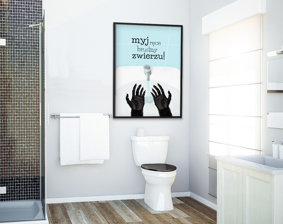 Plakat z humorystyczną typografią