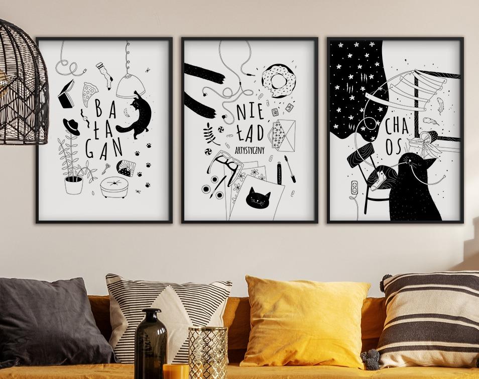 Plakaty w ramie z czarno-białą grafiką