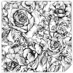 vintage-tapeta-czarno-biale-roze