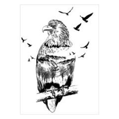podwojna-ekspozycja-czarno-biale-ptaki