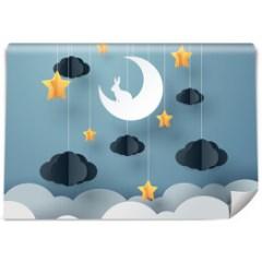 fototapeta-nocne-niebo-z-ksiezycem-dekoracje-scienne-do-pokoju-dziecka