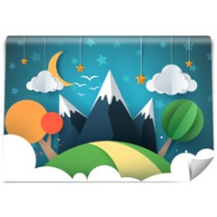 gorski-krajobraz-niebo-noca-pokoj-dziecka-fototapeta