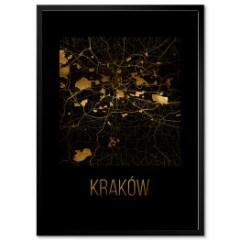 plan-miasta-krakow-plakat-w-ramie