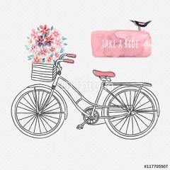 Rysowany retro rower