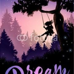 Inspirująca ilustracja - dziewczyna na huśtawce przy drzewie