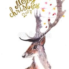 akwarelowy-jeleń-plakat-zimowy