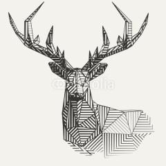 geometryczny-minimalistyczny-renifer-dekoracja-na-ścianę-w-stylu-skandynawskim