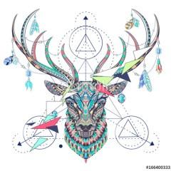 wzorzysta-geometryczna-głowa-jelenia-zimowe-obrazy