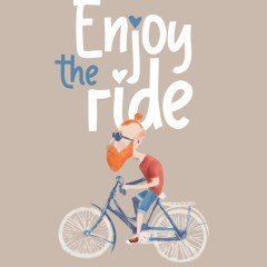 Hipster na rowerze - napis enjoy the ride