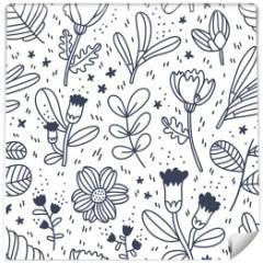 tapeta-czarno-biala-kwiaty