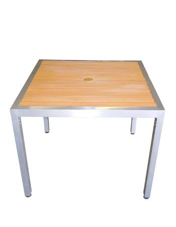 67 teak table inlay faux slat 36 sq