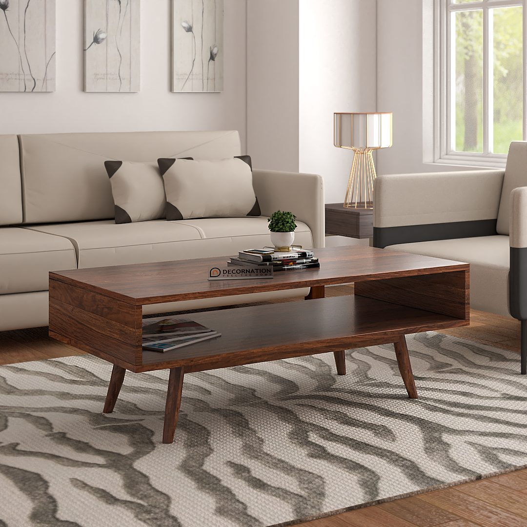 bangor solid wood coffee table with storage natural finish