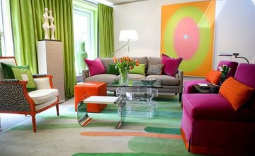 colorful vintage living room decor