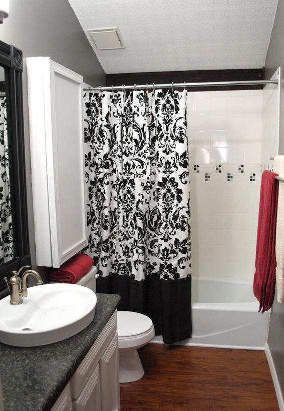 red white and black colored modern bathroom design