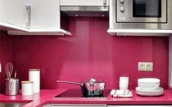 small white and pink kitchen
