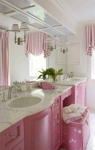 very best white and pink colored bathroom design