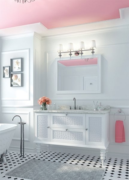 white and pink colored modern bathroom