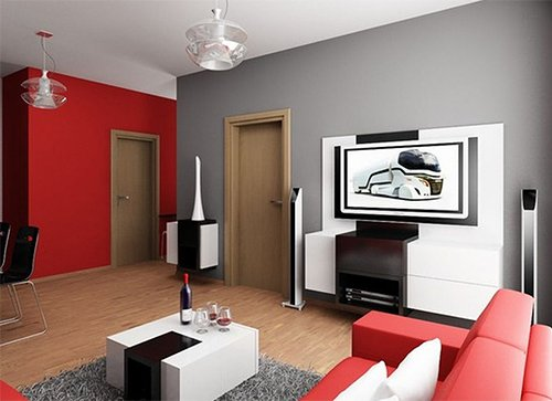 red and gray colored small apartment
