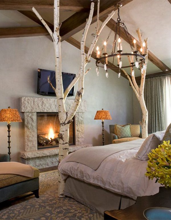 romantic bedroom design with fireplace